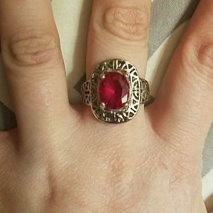 Size 7 925 Stamped SS & Ruby Ring